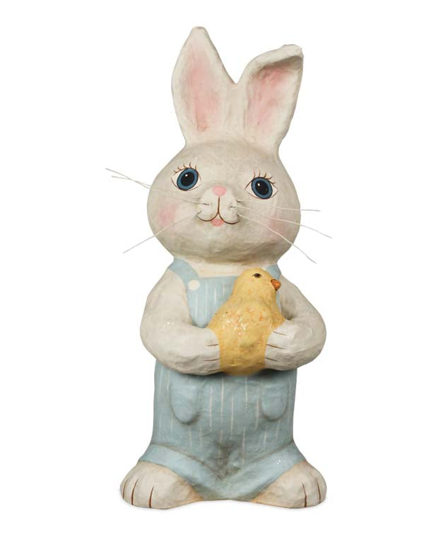 Bethany Lowe Retro Bunny Boy with Chick - Paper Mache