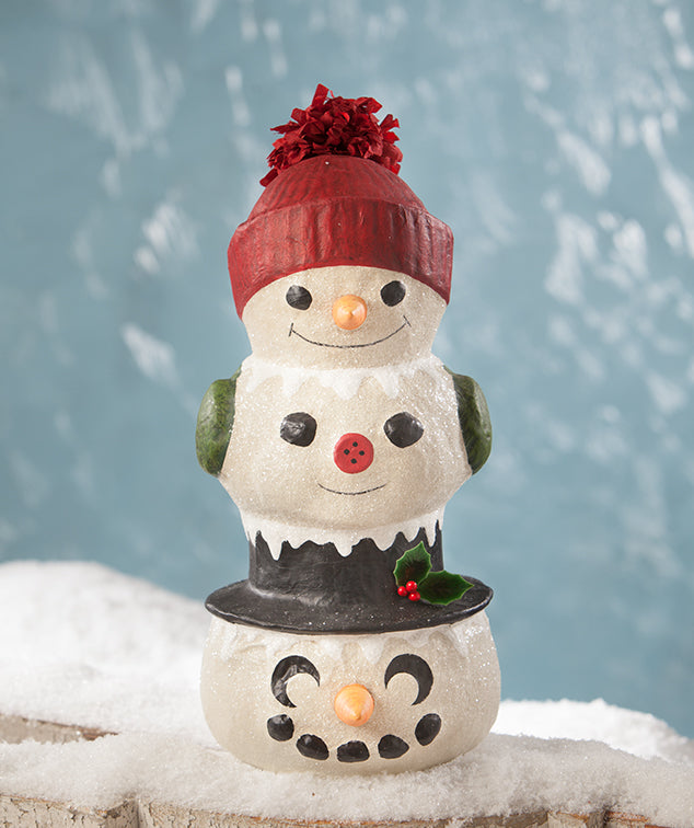 Bethany Lowe Snowman Topiary, Paper Mache