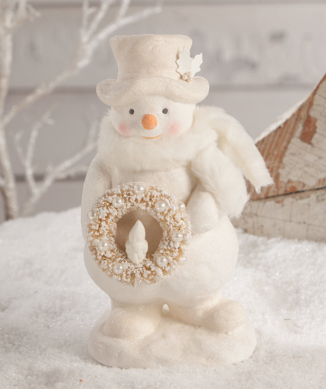 Bethany Lowe Snowman with Wreath, Winter Whites