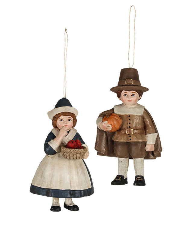Bethany Lowe Thanksgiving Pilgrim Child Ornaments