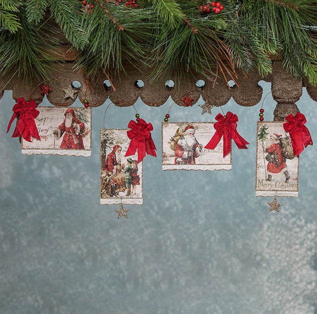 Bethany Lowe Traditional Christmas Postcard Ornaments with Vintage Images