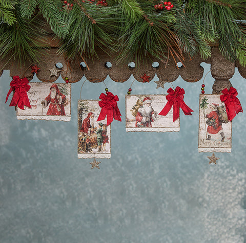 Bethany Lowe Traditional Christmas Postcard Ornaments with Vintage Images - Bethany Lowe Christmas Decorations - TheHolidayBarn.com