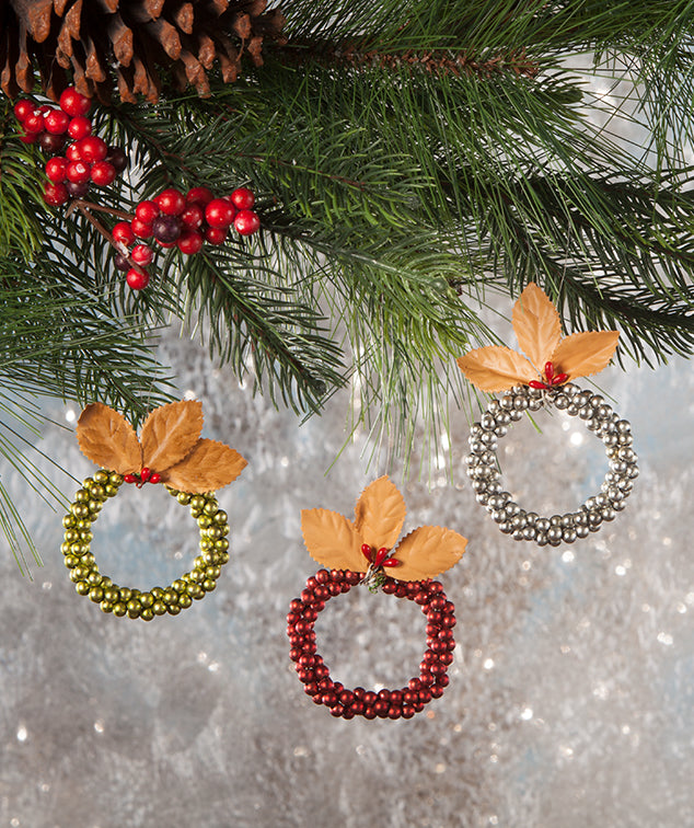 Traditional Bead Wreath Ornaments - Vintage Style Christmas Decorations