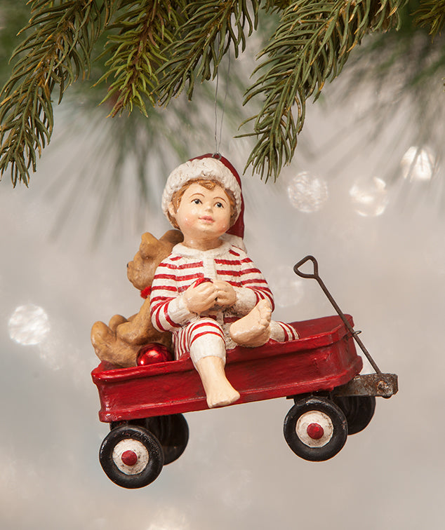 Bethany Lowe Wally in Red Wagon Ornament - Christmas 2018