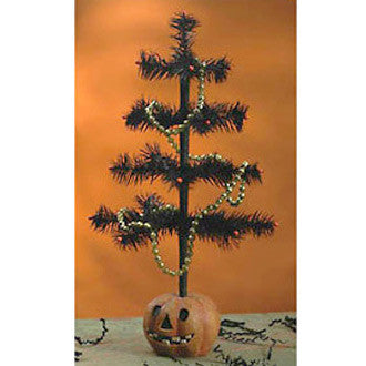 Halloween Feather Tree in Pumpkin