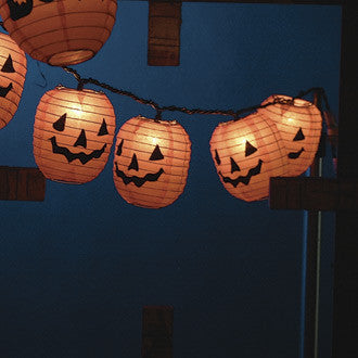 Pumpkin Face Paper Lanterns with Lights
