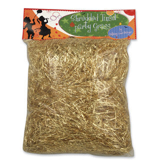 Shredded Gold Party Tinsel Grass