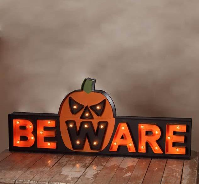 Beware Marquee Halloween Sign with Pumpkin Jack-O-Lantern