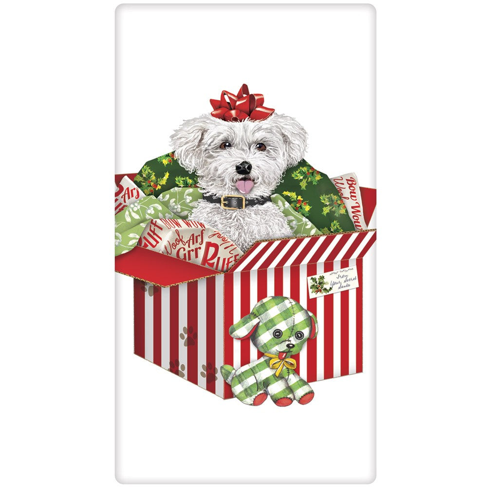 Bichon Frise Christmas Surprise Flour Sack Towel