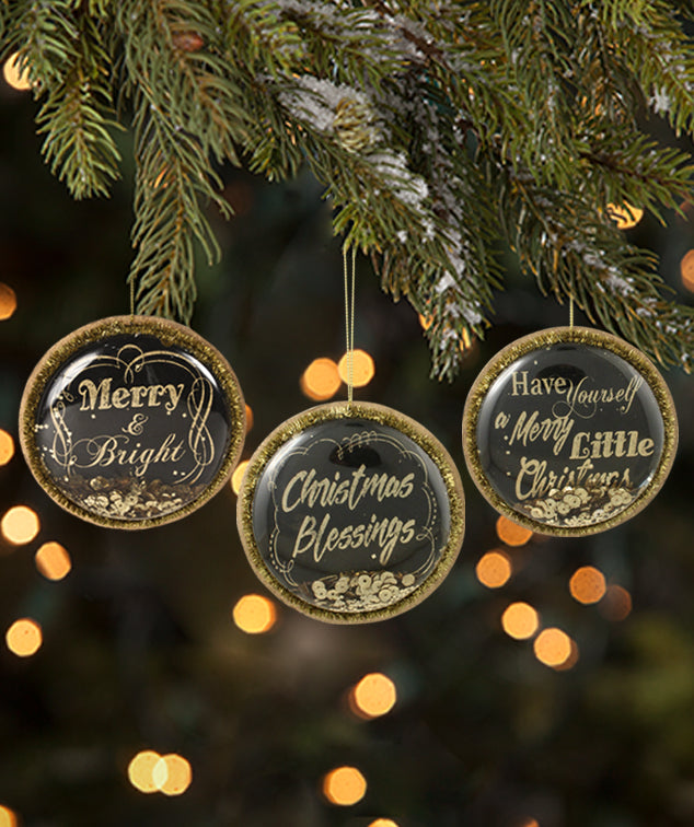 Black and Gold Christmas Greetings Dome Ornaments by Bethany Lowe