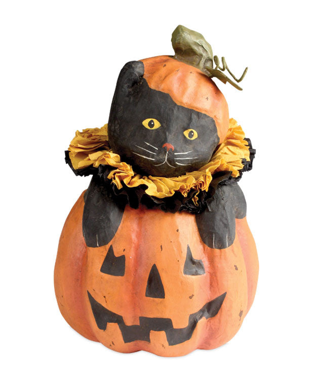 Bethany Lowe Cat in Jack-O-Lantern Paper Mache Halloween Decorations