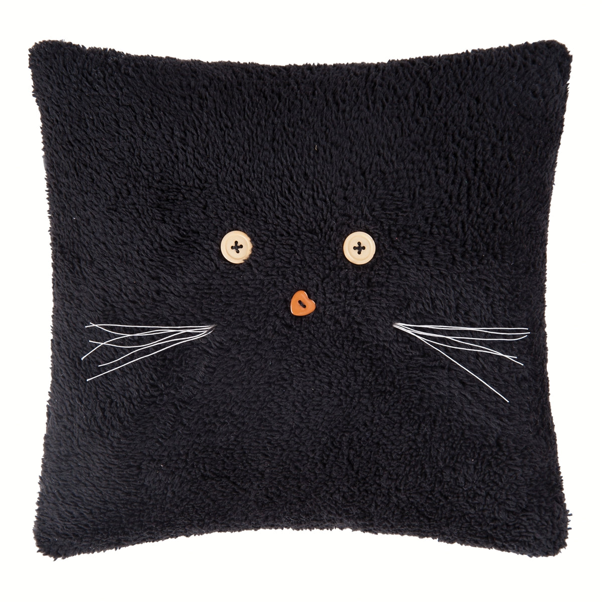 Black Cat Face Pillow - Fleece Halloween Accent