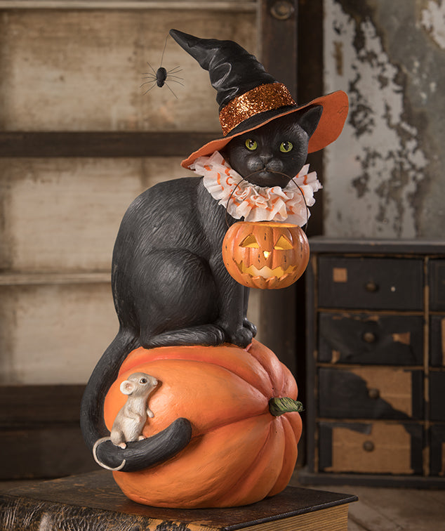 Black Cat Witch on Pumpkin by Bethany Lowe