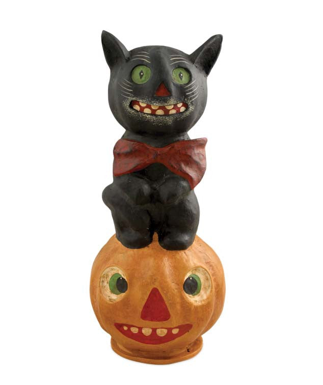 black cat with bow tie on jack o lantern vintage style halloween decorations