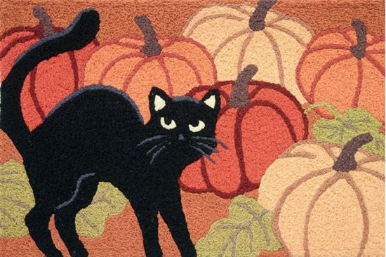 Black Cat with Pumpkin Door Mat - JellyBean Halloween Rug