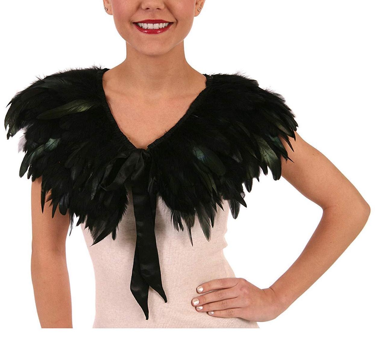 Black Feather Cape Halloween Costume Accessories