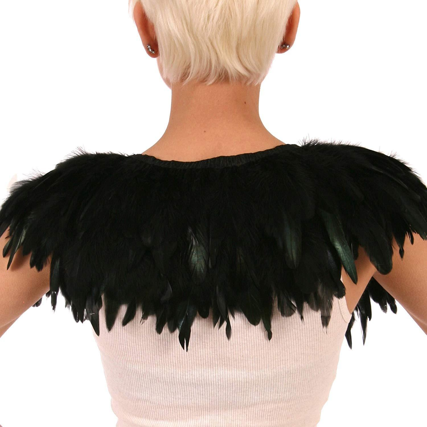 Black Feather Cape Halloween Costume Accessory - Backside