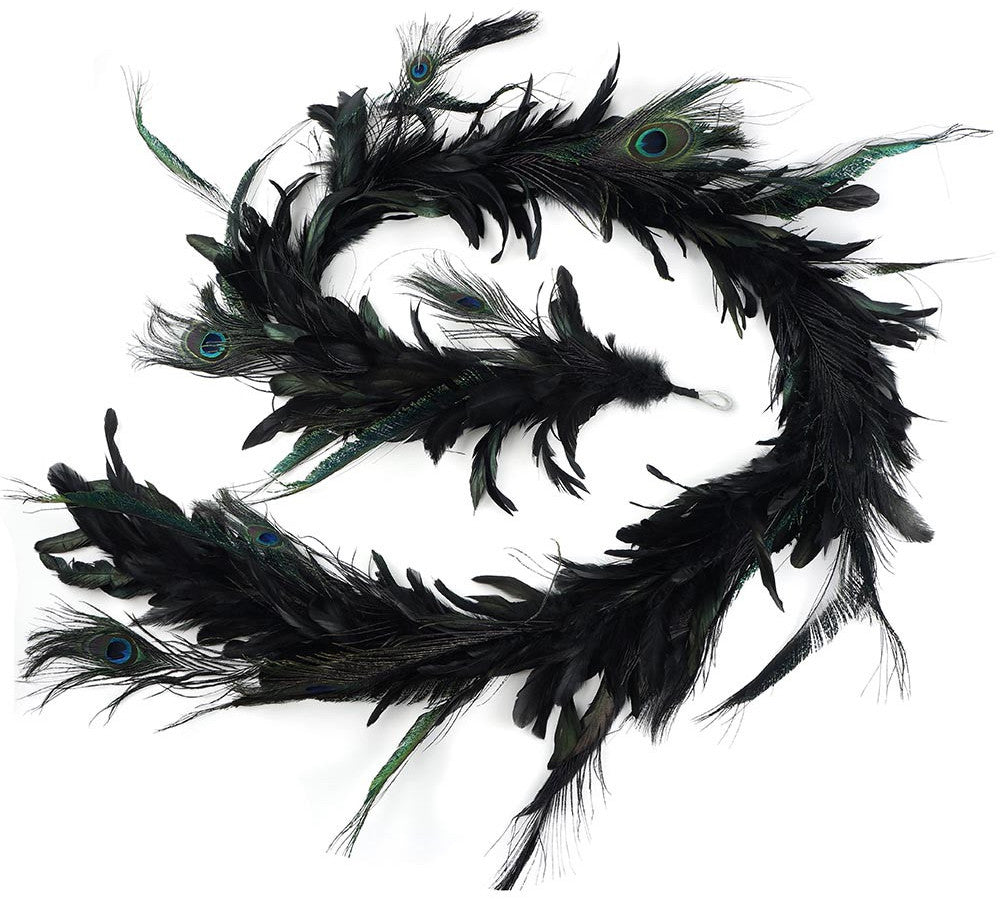 Black Feather Peacock Garland