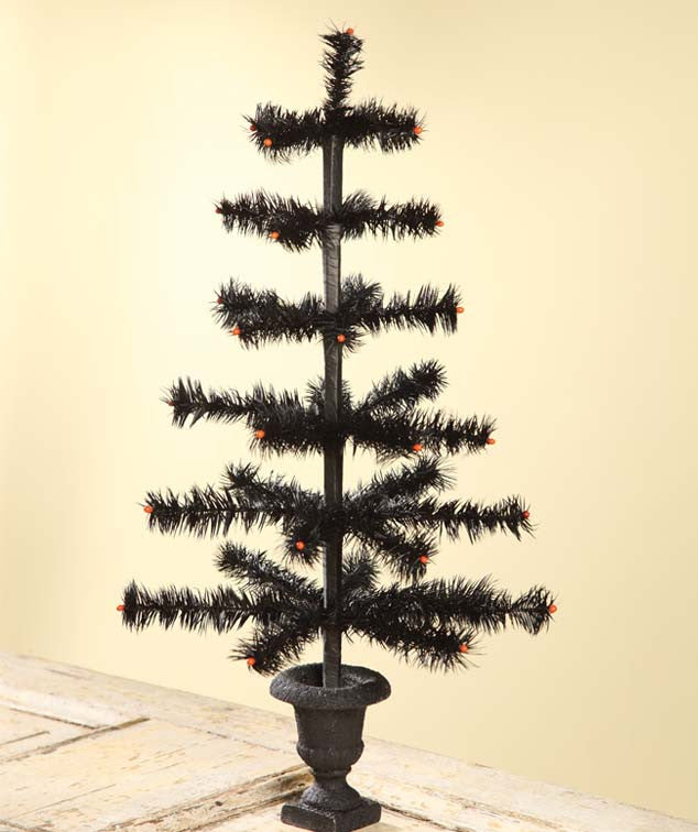 Black Feather Halloween Tree in Urn Base