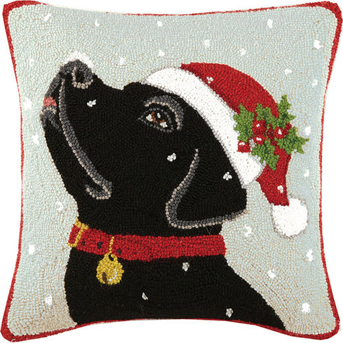 Black Lab in Santa Hat Hooked Pillow