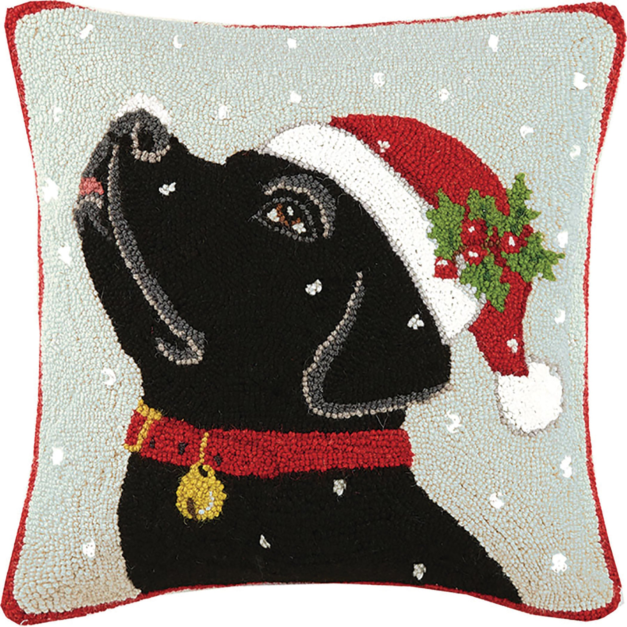 Black Lab Snow Day Hooked Pillow