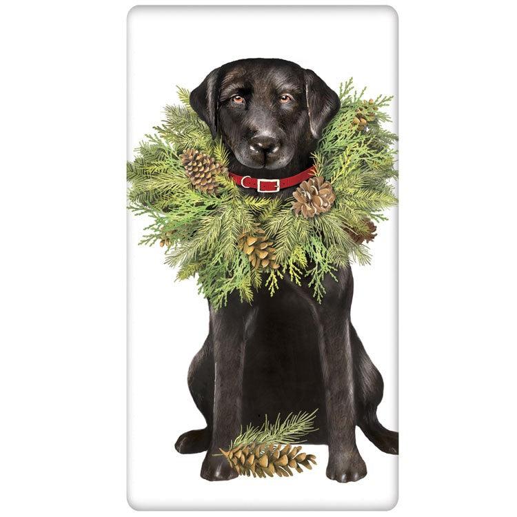 Black Lab with Christmas Wreath Flour Sack Towel
