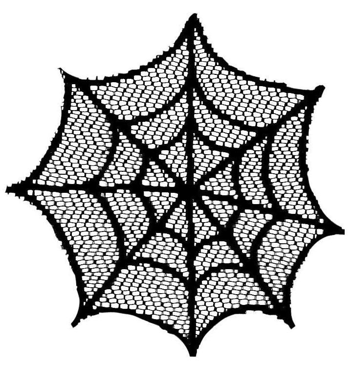 Black Lace Spider Web Doily - Halloween Drink Coaster