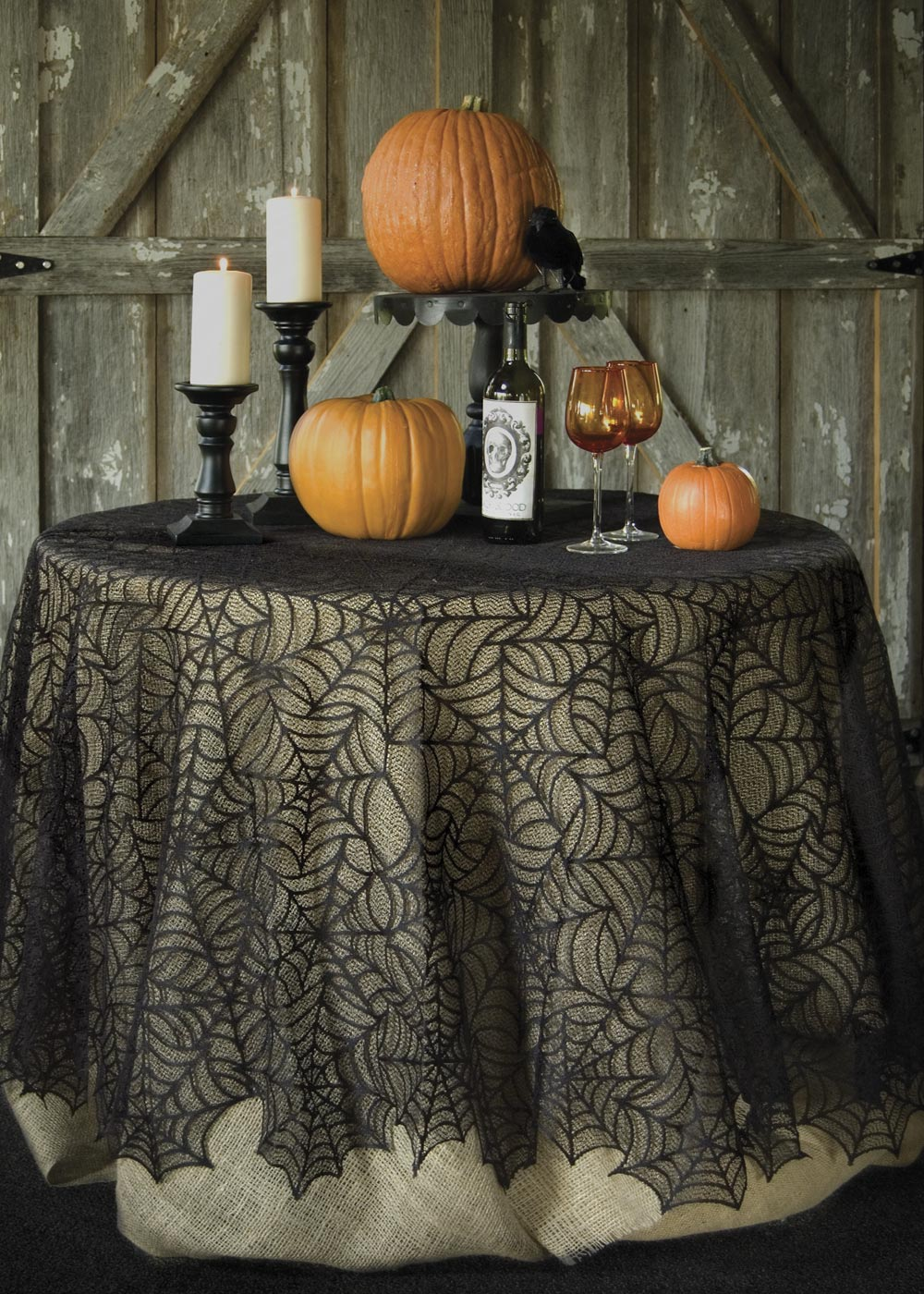 Black Lace Spider Web Halloween Wedding Table Topper