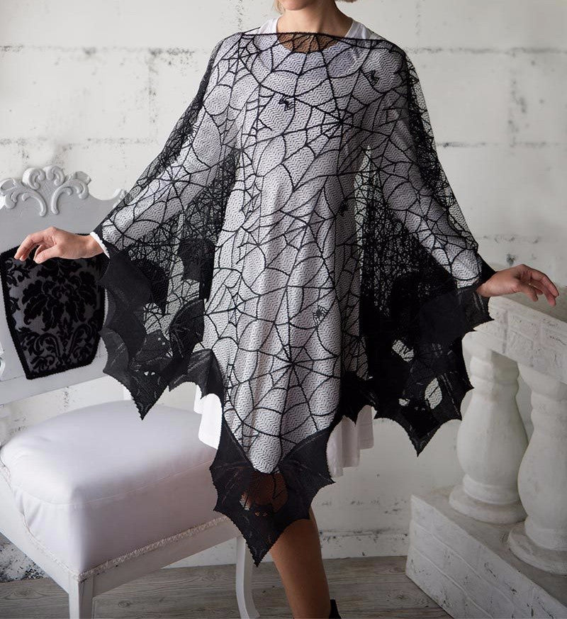 Black Lace Spider Web & Bat Poncho Costume