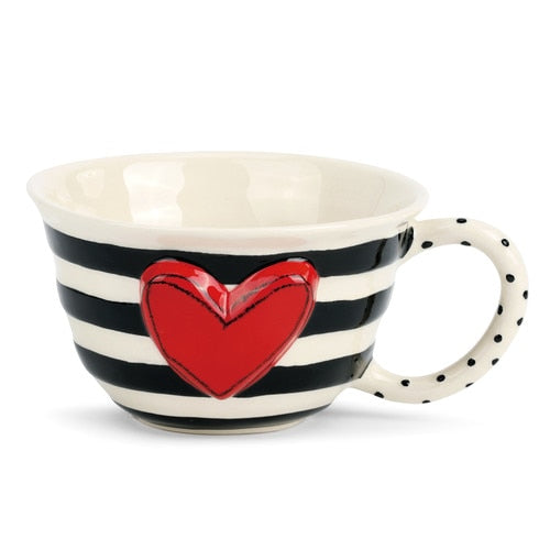 Black Stripes and Heart Tea Cup and Coffee Cups