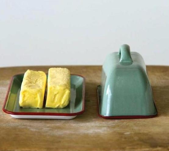 Blue & Red Enameled Butter Dish