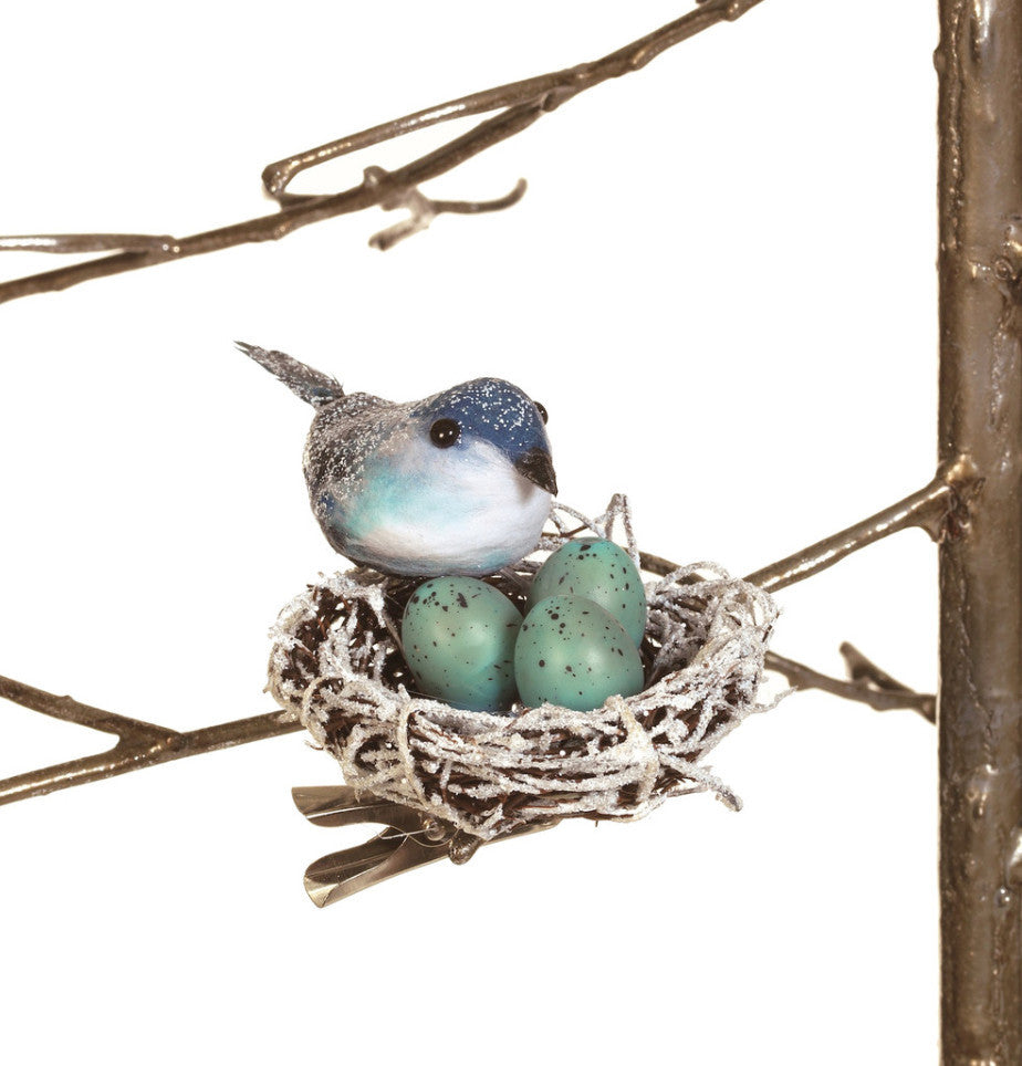 Bluebird Nest with Eggs Clip Ornament