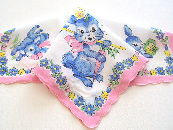 Blue Bunny Garden Handkerchief Reproduction