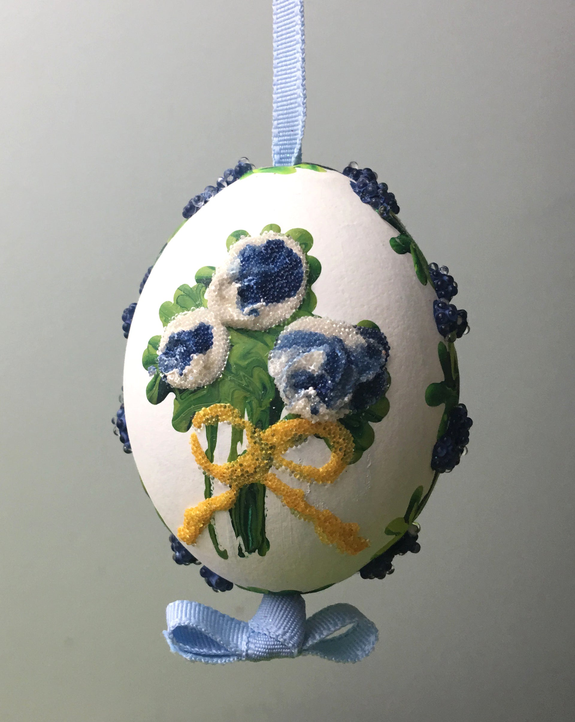 Blue Flower Bouquet Egg Ornament