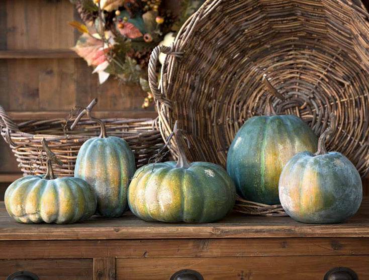 Blue Green Pumpkins - Faux Pumpkin Decorations