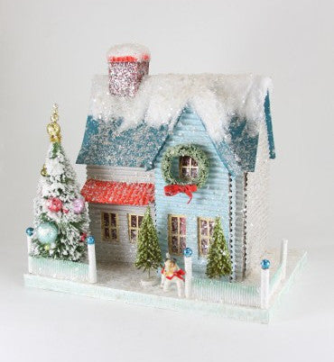 Blue Putz House With Dog Glittered Christmas House With