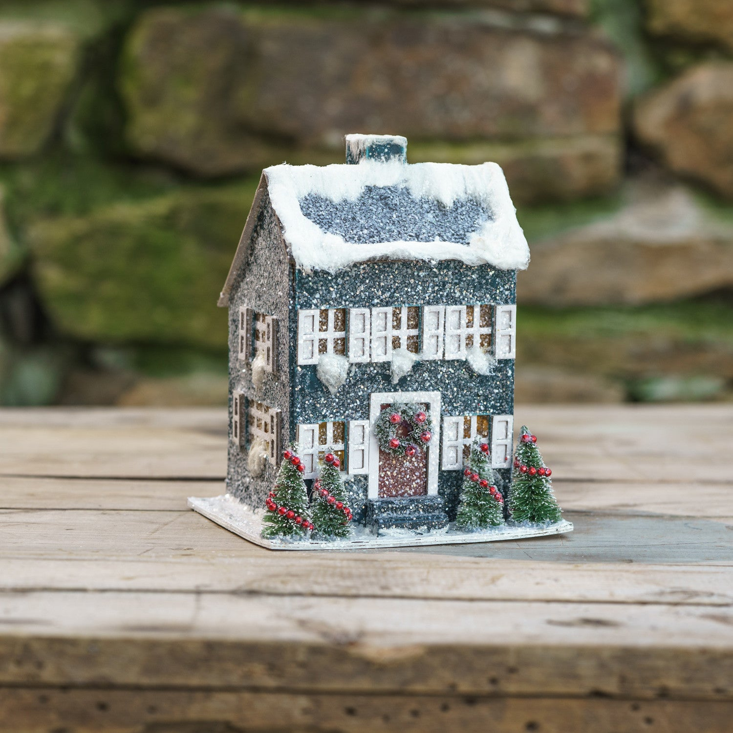 Blue Saltbox Christmas House with Light