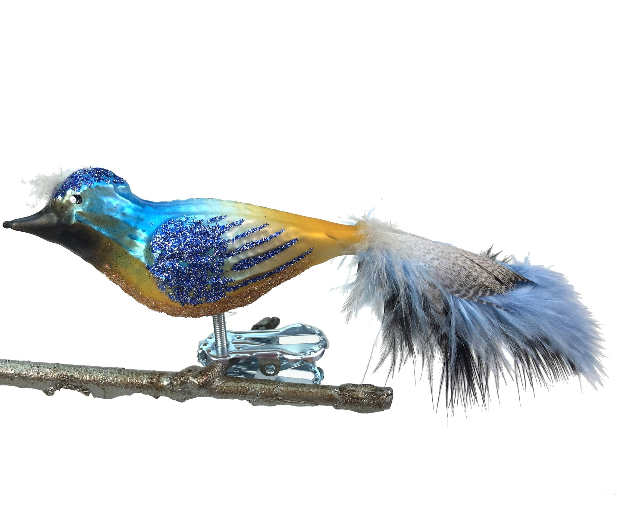 Blue & Yellow Bird Clip Ornament with Feather Tail Made in Germany