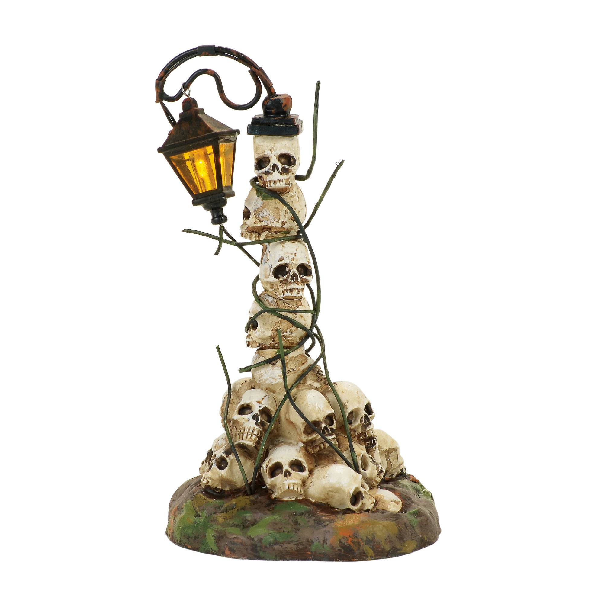 Boneyard Street Light - LED Lantern on Stack on Skulls