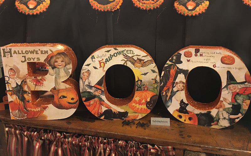 Boo Word Sign with Vintage Halloween Images