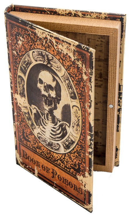 Vintage Book of Poisons Box with Skeleton - Halloween Prop