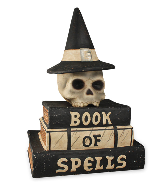 Book of Spells with Witch Skull by Bethany Lowe