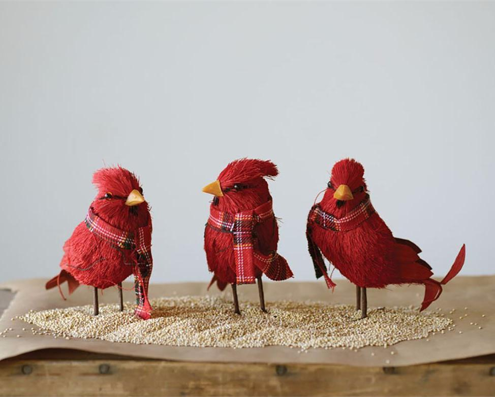 Red Cardinals with Scarfs - Bottle Brush Christmas Decorations