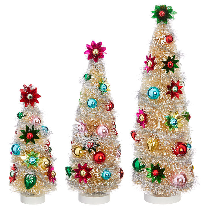 Ivory Bottle Brush Trees with Foil Ornaments