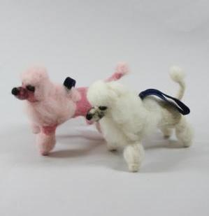 Bouffant Pink & White Poodle Ornaments - Wool Felt