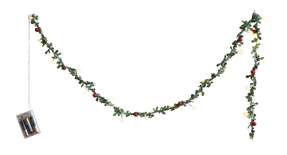 Boxwood Garland with Lights - Battery Operated