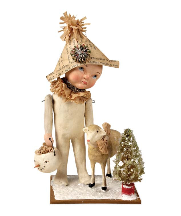 Boy With Lamb in Winter - Vickie Smyers Christmas Figurine