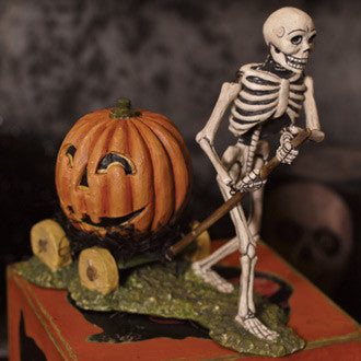 Skeleton and Pumpkin Wagon