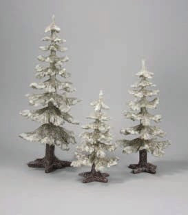 Winter Fir Trees Silver Set of 3