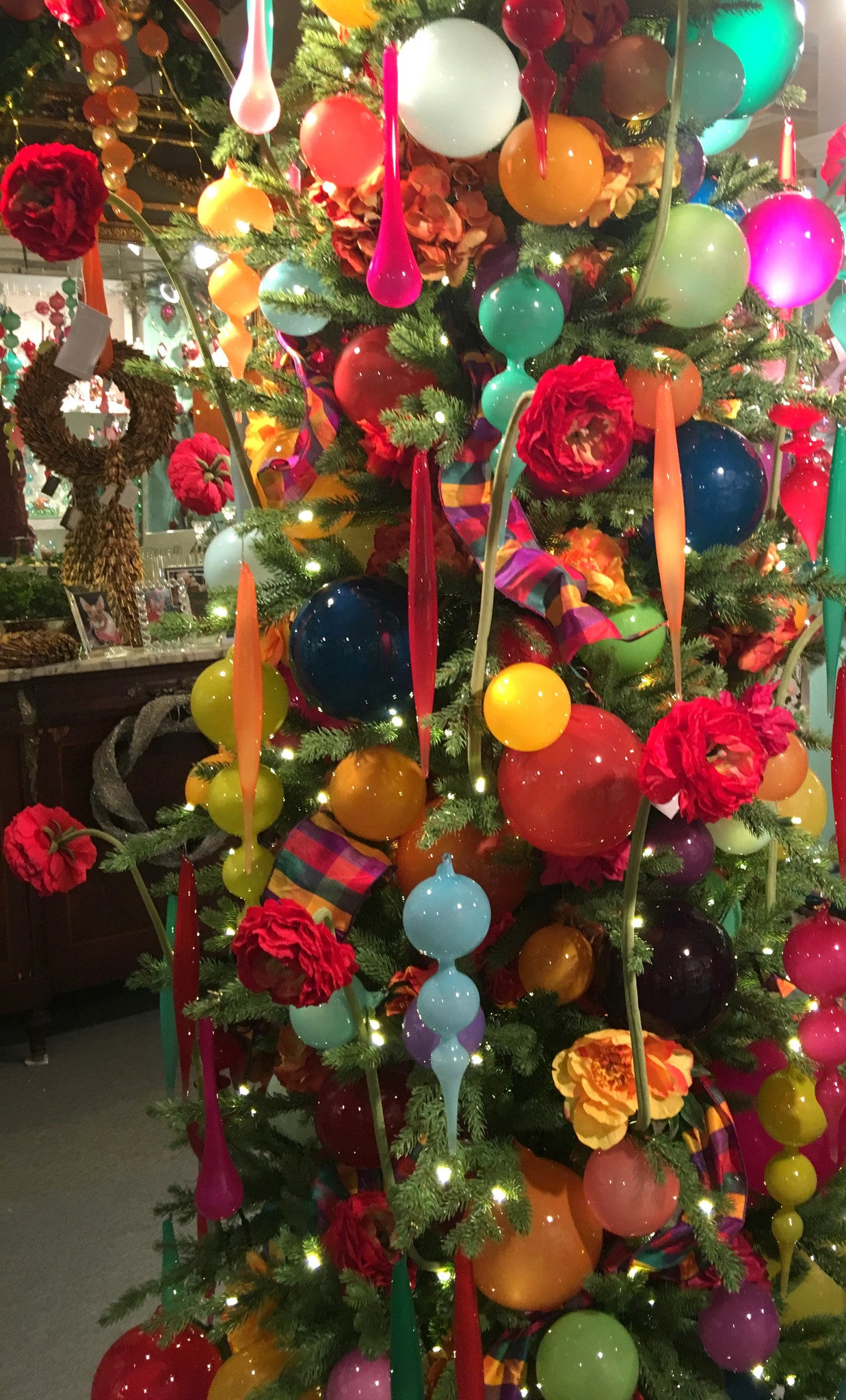 Jim Marvin Decorated Tree with Bubblegum Glass Ornaments